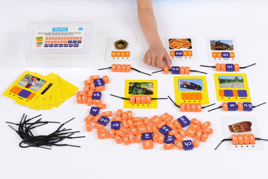 Systematic Phonics Lacing Beads - CVCC CCVC Set Phase 4