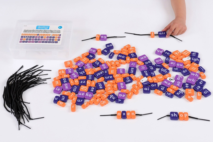 Systematic Phonics Lacing Beads - Bulk Set of Beads & Strings Phases 2-5