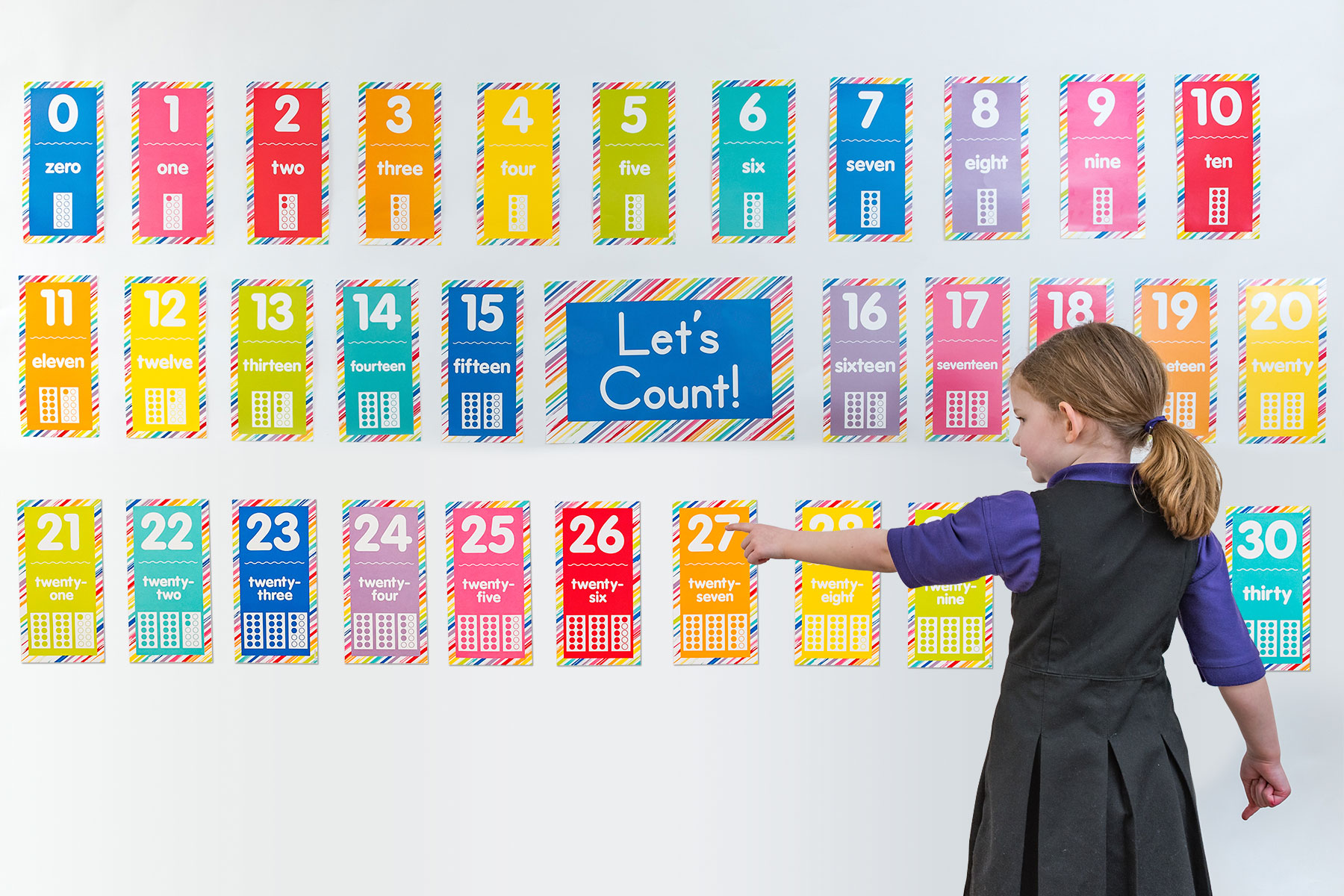 0-30 Just Teach Number Cards Bulletin Board Set