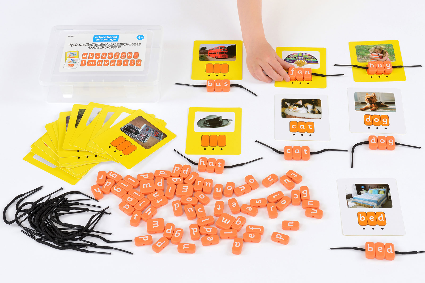 Systematic Phonics Lacing Beads - CVC Set Phase 2