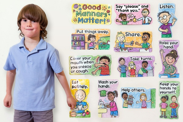 Good Manners Matter - Kid Drawn Bulletin Board Set
